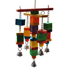 Pet Products Parrot Bird Toys Swing Wood Chew Rope Fun with Bells Toy HG99(China (Mainland))