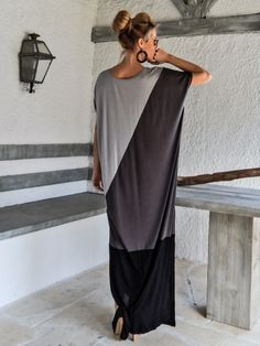 Black & Gray Maxi Dress / Black Gray Kaftan / Plus Size Dress / Oversize Loose Dress / #35073