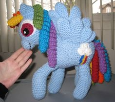 Rainbow Dash Crochet Plush  Made to order  Shipping by skookyspry, $120.00