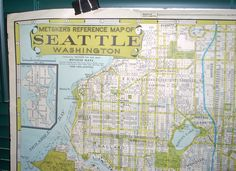 1959 Map of Seattle by Metsker the Map Man