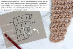 Crochet chart: how to crochet a triangle scarf with Caron Cakes yarn (Buttercream colorway pictured)