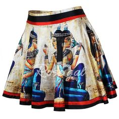 Retro Style High-Waisted Printed Skirt For Women