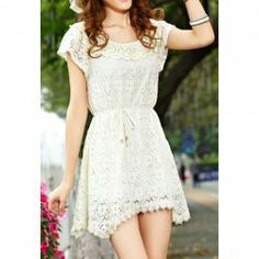 $14.58 Ladylike Style Lace Solid Color Short Sleeves Irregular Dress For Women
