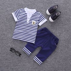 Cheap kids boy, Buy Quality kids boy fashion directly from China kids fashion boys Suppliers: Stripe Kids Boys 2017 Summer Clothes Set Newborn Baby Fashion Casual Outerwear Clothing Sets Infant Boy Suits T-shirt+Pant Cheap Baby Clothes, Boys And Girls Clothes, Baby Boy Fashion, Kids Fashion, Style Fashion, Fashion Clothes, Fashion Design, Baby Boy Outfits, Kids Outfits