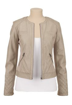 Quilted Shoulder Faux leather moto jacket (original price, $59) available at #Maurices