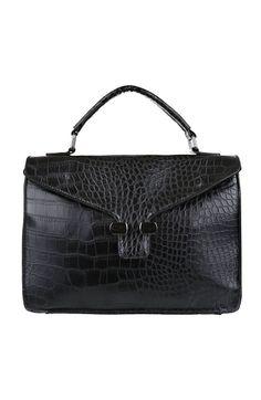 28d99e0f84c14 Czarna torebka w krokodyli wzór - Modne Duże Rozmiary