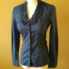 """The Limited button down shirt A pretty, deep teal color. Most closely captured in photo 1. A bit more teal than photographed. Great condition.   My dress form has a 34.5"""" bust and this just buttons closed. The Limited Tops Button Down Shirts"""