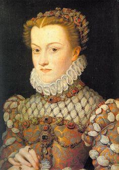 François Clouet (not. 1536-1572) Figlio dell'altro grande pittore  Jean Clouet, François successe al padre come pittore di corte nel 1540.  In questo ritratto, dipinto con sicura padronanza della linea e con un uso assai delicato di colori... #art #history #canvas #oil #FrançoisClouet