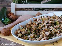 Insalata pollo, zucchine e noci