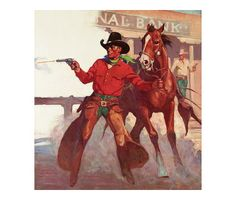 """18"""" x 20"""" Canvas Gicleé gallery wrap reproduction of A.R. Mitchell's western painting titled Hold-up at 1st National Bank"""