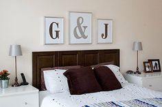 Easy decorating for the bedroom.  It's already a G for Gary and j for jenn !