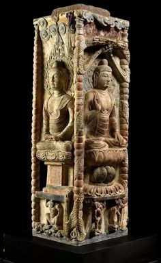 Tang Dynasty stone stele, part of a pagoda originally located in Deng Yu Village in Shanxi Province, China, now being exhibited at the Shanxi Province Museum