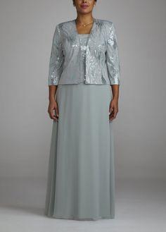 3/4 Sleeve Long Sequin Jacket Dress - David's Bridal