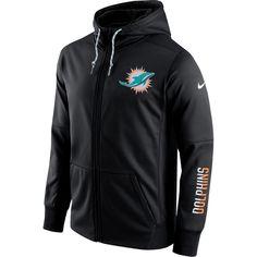 Men's Miami Dolphins Nike Anthracite Sideline Circuit Full-Zip Performance Hoodie