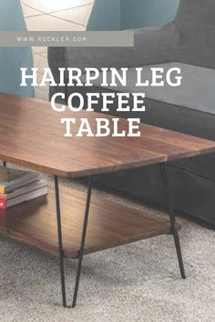 Building a midcentury modern coffee table with an artfully curved top is easy with Rockler's I-Semble Hairpin Legs and Hairpin Leg Shelf Brackets! Just a few simple glue-ups and cuts, and you'll have a display-worthy piece you made yourself!  #isemble #rockler #coffeetable #hairpinlegs #moderncoffeetable Hairpin Leg Coffee Table, Diy Coffee Table, Modern Coffee Tables, Hairpin Legs, Woodworking Ideas To Sell, Woodworking Furniture, Furniture Plans, Woodworking Plans, Diy Furniture Projects