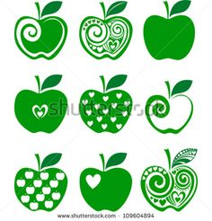 set of green apple icon isolated on white background. Vector illustration