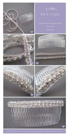 DIY sparkling hair accessory tutorial | www.craftaliciousme.com Diy Wedding Hair Comb, Diy Hair Accessories, Wedding Accessories, Bridal Crown, Hair Beads, Diy Hairstyles, Wedding Hairstyles, Diy Tutorial, Easy Peasy