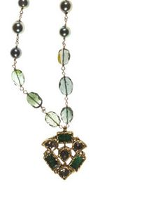 """18K, Emerald and Diamond Medallion on Teal Tourmaline and Cultured Pearls on gold filled chain. Necklace length 19""""-22"""" inches. Pendent length 1 1/2"""" inch. Pendent width 1 1/4"""" inch. Lobster clasp. Made in USA.  www.thesagelifestyle.com"""