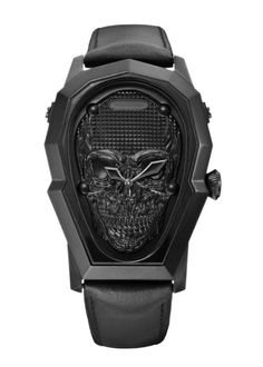 Marc Ecko Mens The Prometheus All Black IP Skull Stainless Steel Leather Watch in Jewelry Watches, Watches, Wristwatches Best Watches For Men, Amazing Watches, Beautiful Watches, Cool Watches, Stylish Watches, Luxury Watches, Casio Protrek, Hand Watch, Skull Jewelry