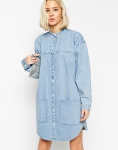 Buy ASOS WHITE Bleach Denim Shirt Dress at ASOS. With free delivery and return options (Ts&Cs apply), online shopping has never been so easy. Get the latest trends with ASOS now. Denim Fashion, Boho Fashion, Fashion Outfits, Fashion Trends, Estilo Jeans, Estilo Boho, Denim Shirt Dress, Denim Outfit, Asos