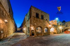 The Street in the Medieval town of Greece. If you pass by at night you may hear the sound of horses coming through ; Greece Rhodes, Medieval Town, Rhode Island, Prague, Knights, Horses, Memories, Mansions, History
