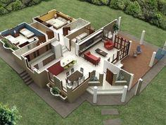Home Design Plans, Plan Design, Design Ideas, Modern House Plans, Modern House Design, Small Room Design Bedroom, Three Bedroom House Plan, Decoration, Architecture Design