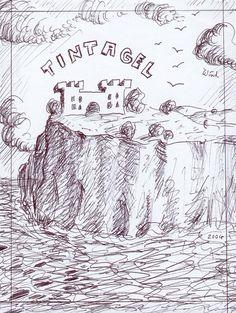 Tintahgel (nach dem Tongedicht von Arnold Bax / after the tone poem of Arnold Bax), 2004 by J.G.Wind - Die Zeichnung eine Studie für ein Ölgemälde - und zudem Teil der Bilderserie um das Verlags-Logo des Bastei Verlages
