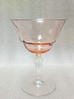 Nick Nora 1930 Art Deco Cocktail Glass Pink Depression Diamond Optic Holds 3oz | eBay