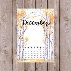 Watercolor Birchwood Trees Autumn/Winter Calendar for Journal/Planner December Bullet Journal, Bullet Journal Spread, Bullet Journal Inspiration, Bullet Journals, Journal Themes, Journal Layout, Birchwood Tree, Moleskine, Newspaper Art