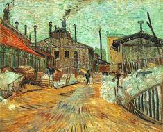 Vincent van Gogh - Factories, 1887 at Barnes Foundation Philadelphia PA from the Masterworks Collection Catalog Vincent Van Gogh, Oil Painting Gallery, Oil Paintings, Barnes Foundation, Professional Painters, Oil Painting Reproductions, Impressionism, Art For Sale, Oil On Canvas