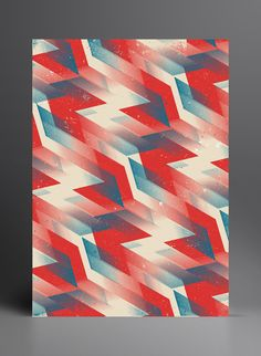 Geometric red, white and blue