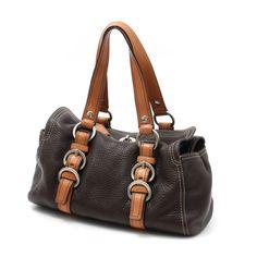 dcbdc8878998 Coach Brown Pebbled Leather Turnlock Handbag