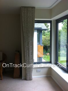 Tilly's Aura Ultraflat curtain track measured and fitted by OnTrackCurtainFitters.com. Supplied by Ruth Malloy of Cream Interior Designs.