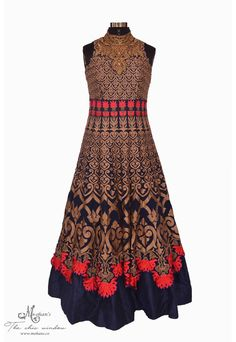 Chic exclusive Navy-blue long dress adorn in classic embroidery