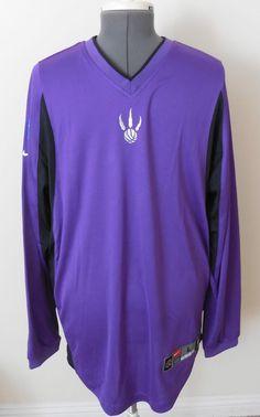 Mens Vtg Nike Dri Fit Toronto Raptors NBA Shooting Jersey Sz L Purple Stitched #NikeDriFit #TorontoRaptors