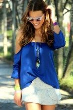 Wonderful blouse...More color!! #Blue #Off #The #Shoulder #Chiffon #Blouse #sheinside @SheInside