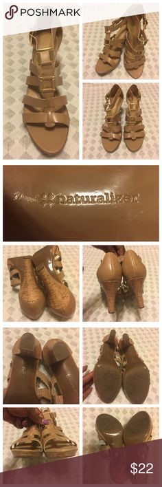 Preowned ***Naturalizer+++ Open Toe Dress shoes Pre-Owned Naturalizer Open Toe Dress shoes for women -Color Tan  Size 10. Fairly used with normal wear and tear- dirt which is easy fix with soapy Water - see photos. pair is in mint condition. No hold and No trade. Naturalizer Shoes Heels