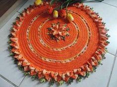 tapete croche flores bicos cenoura laranja barrado croche com receita