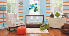 Vibrant Aqua and Orange Nursery Design!