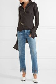 3x1WM3 Crop Fringe mid-rise straight-leg jeans