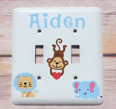 Personalized Jungle Nursery Decor, Custom Monkey Lion Baby Shower Gift, Personalized Baby Gift, Childs Light Switch Plate, Baby Room Decor by CynthiaCraftBoutique on Etsy https://www.etsy.com/uk/listing/523294484/personalized-jungle-nursery-decor-custom