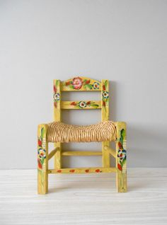 Handmade Handpainted Mexican Childu0027s Chair // Yellow With Flowers //  Toddler. Hand Painted ChairsChair PaintingChild ChairSan Diego ...