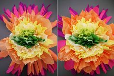 I recently spotted a sensationalbouquet of paper flowers inside my favorite (and the ultimate)boutique for creative inspiration, Castles In The Air. A combination of Mexican paper flowers and those ever so popular tissue paper pom poms, these vibrant and cheerful flowers make perfect ornaments