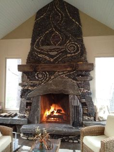 Porch fireplace using a collection of  stones from around the world, fossils & amethyst.