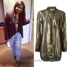 Mindy wears this gold metallic shirt with print pants and biker jacket pumps. /// Rebecca Minkoff Buttondown Shirt - $310 Worn with Rebecca Minkoff pants and Moschino shoes