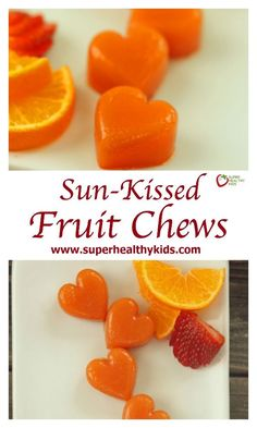 My favorite thing about our Sun-Kissed Fruit Chews is that it is actual fruit. They definitely are not like store-bought fruit snacks, no sugar added. Candy Recipes, Fruit Recipes, Baby Food Recipes, Gourmet Recipes, Snack Recipes, Healthy Candy, Healthy Fruits, Healthy Snacks, Kid Snacks