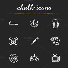 Addictions icons. Vector by @Graphicsauthor