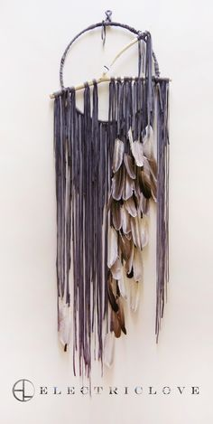 """Pacha Series - 14"""" Pacha in Charcoal Grey with Natural Feathers, Carved Branch and Quartz Crystal"""