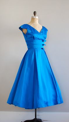 1950's Blue Satin Dress