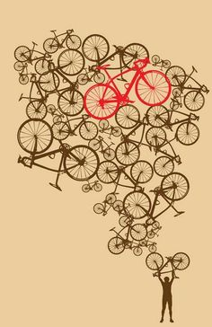 Items op Etsy die op 11 x 17 Illustrated Stacked Bikes Print lijken Bicycle Tattoo, Bicycle Art, Velo Biking, Bicycle Illustration, Bike Stickers, Bike Poster, Bike Shirts, Bike Design, Design Art